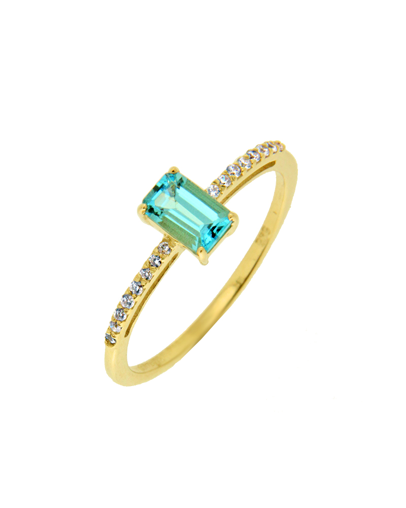 Δαχτυλίδι χρυσό Κ14 με τοπάζι και ζιργκόν