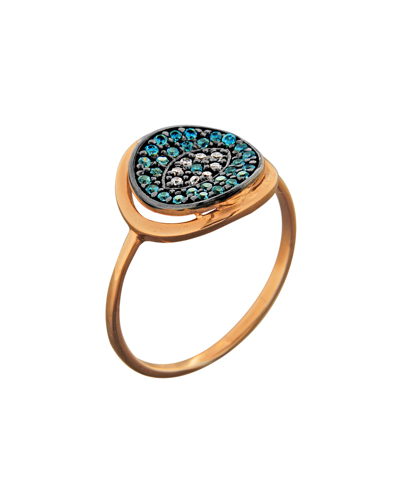 Δαχτυλίδι μάτι ροζ χρυσό Κ14 με ζιργκόν