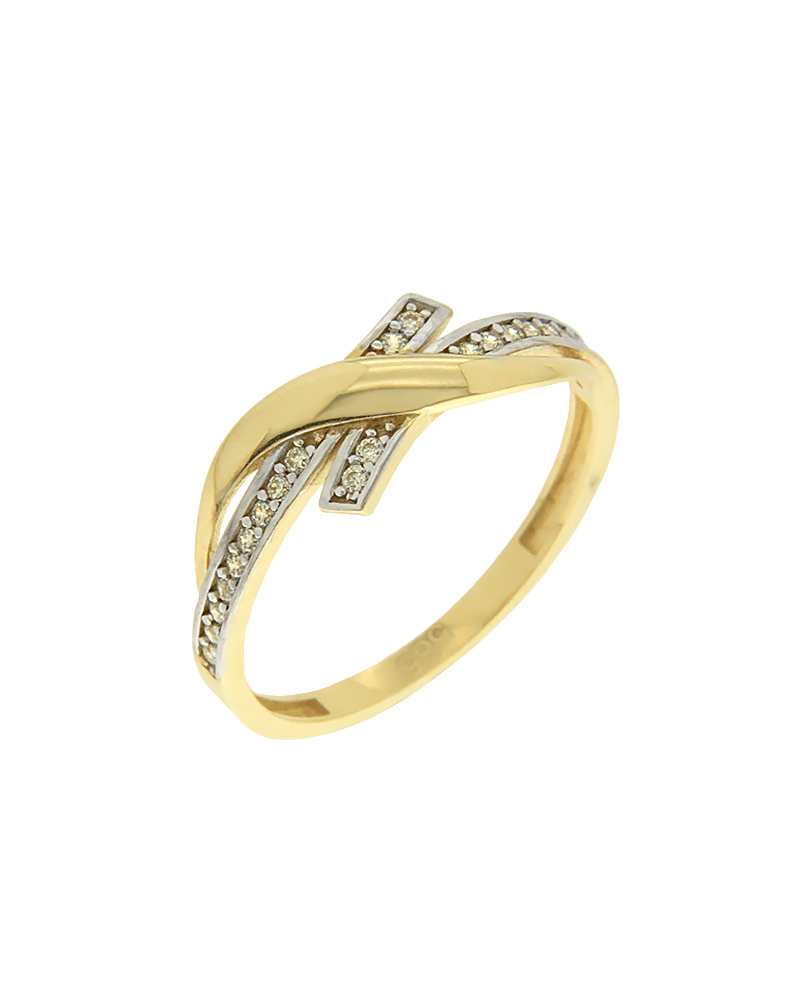 Δαχτυλίδι χρυσό και λευκόχρυσο Κ14 με ζιργκόν