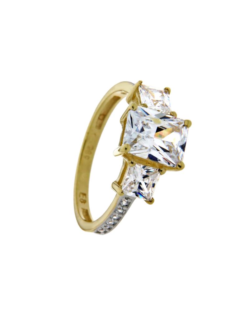Δαχτυλίδι χρυσό Κ14 με ζιργκόν
