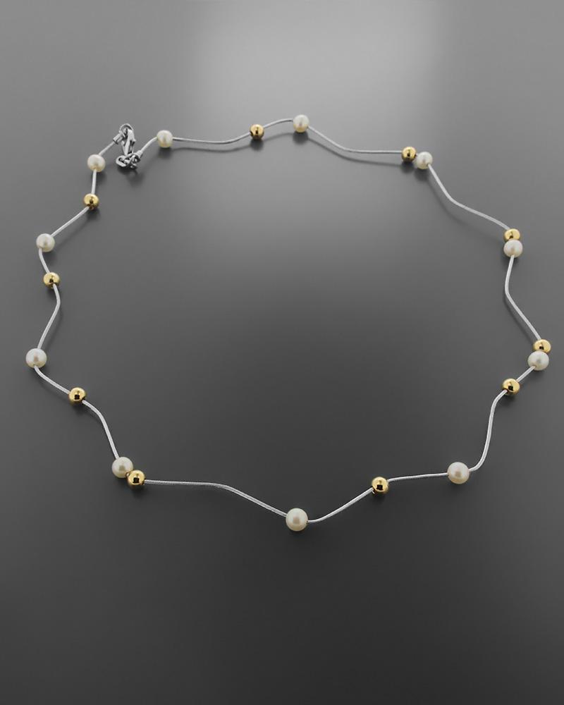 Kολιέ λευκόχρυσο και χρυσό Κ18 με μαργαριτάρια   κοσμηματα κρεμαστά κολιέ κρεμαστά κολιέ ημιπολύτιμοι λίθοι