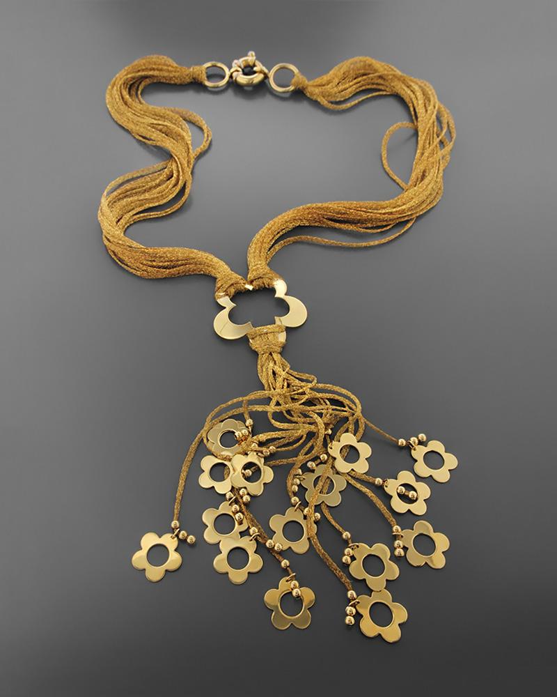 Kολιέ λουλούδια χρυσό Κ18   κοσμηματα κρεμαστά κολιέ κρεμαστά κολιέ fashion