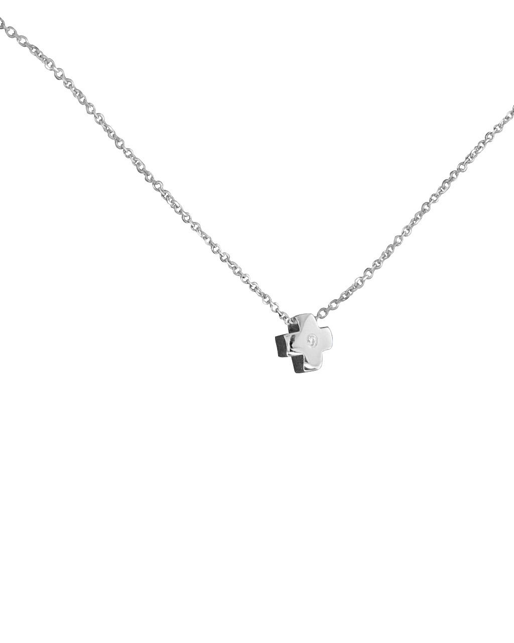Κολιέ σταυρουδάκι λευκόχρυσο Κ14 με Ζιργκόν   κοσμηματα κρεμαστά κολιέ κρεμαστά κολιέ λευκόχρυσα