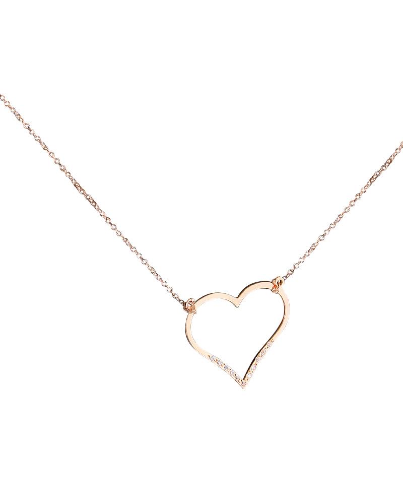 Κολιέ καρδιά ροζ χρυσό Κ14 με Ζιργκόν   κοσμηματα κρεμαστά κολιέ κρεμαστά κολιέ καρδιές