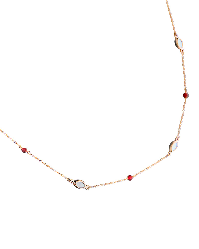 Κολιέ Ροζ Χρυσό Κ14 με Φίλντισι & ορυκτές πέτρες   γυναικα κρεμαστά κολιέ κρεμαστά κολιέ ροζ χρυσό