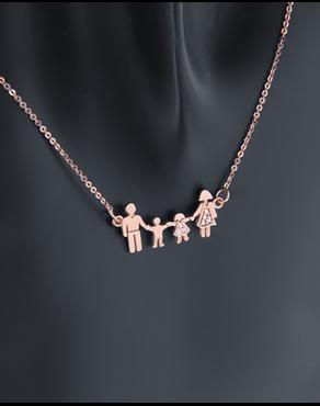 Κολιέ τετραμελής οικογένεια ροζ χρυσό Κ14 με ζιργκόν 3b6065e51ae