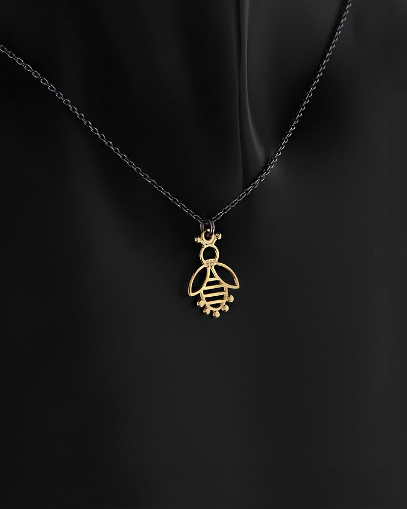 Κολιέ μέλισσα χρυσό Κ14 και ασήμι 925   κοσμηματα κρεμαστά κολιέ κρεμαστά κολιέ fashion