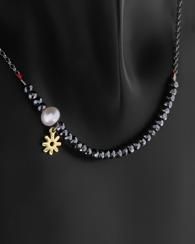 Κολιέ χρυσό Κ14 με αιματίτη και πέρλες με αλυσίδα από ασήμι 925   κοσμηματα κρεμαστά κολιέ κρεμαστά κολιέ fashion