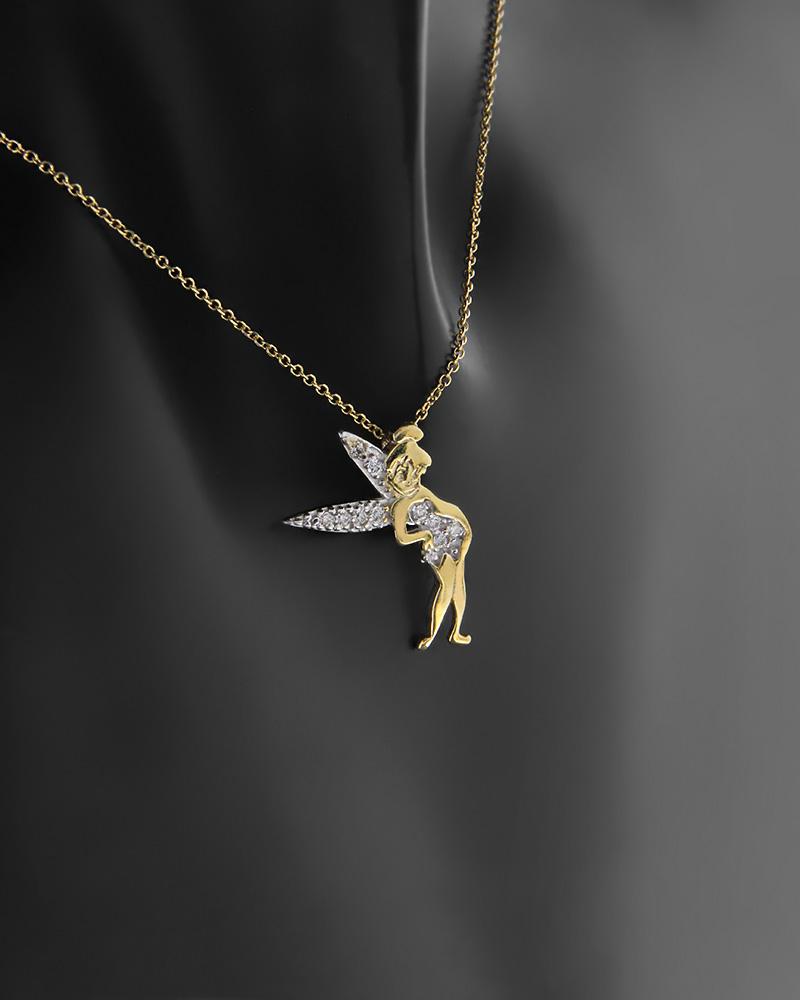 Κολιέ νεράιδα χρυσό και λευκόχρυσο Κ9 με ζιργκόν   κοσμηματα κρεμαστά κολιέ κρεμαστά κολιέ fashion