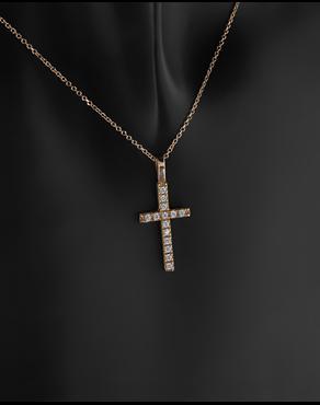 Κολιέ σταυρός ροζ χρυσό Κ14 με ζιργκόν ee0b7b55624
