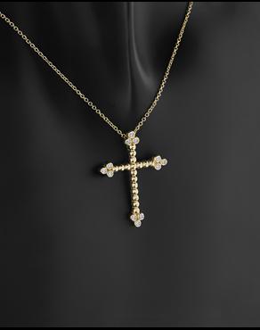 Κολιέ σταυρός χρυσό Κ14 με ζιργκόν 47a90803750