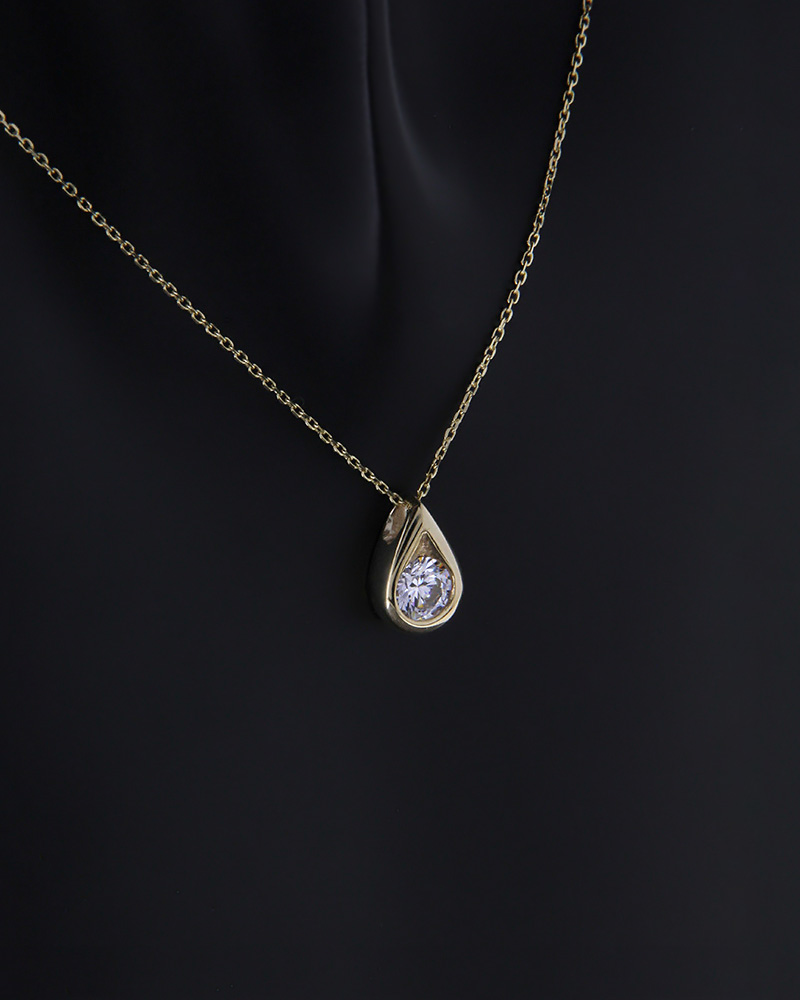 Κολιέ δάκρυ χρυσό Κ14 με ζιργκόν   κοσμηματα κρεμαστά κολιέ κρεμαστά κολιέ χρυσά