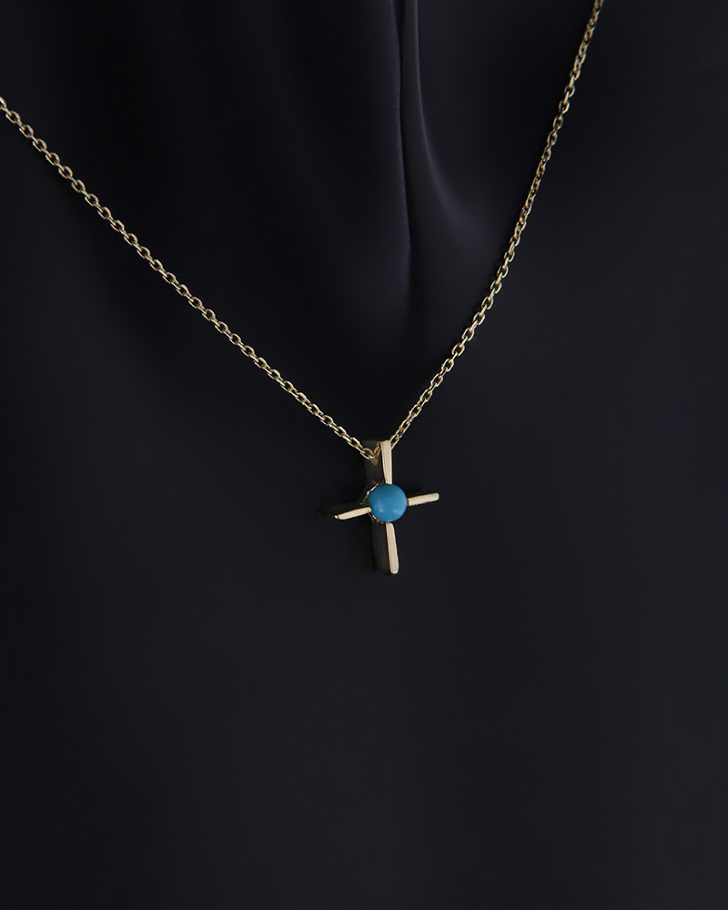 Κολιέ σταυρός χρυσό Κ14 με τυρκουάζ   γυναικα κρεμαστά κολιέ κρεμαστά κολιέ ημιπολύτιμοι λίθοι