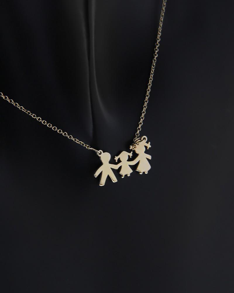 Κολιέ οικογένεια χρυσό Κ14   κοσμηματα κρεμαστά κολιέ κρεμαστά κολιέ χρυσά