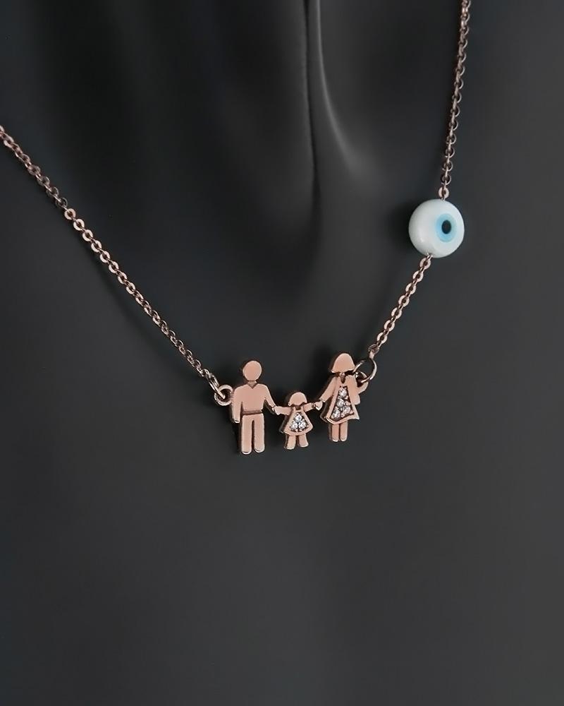 Κολιέ οικογένεια ροζ χρυσό Κ14 με ζιργκόν   γυναικα κρεμαστά κολιέ κρεμαστά κολιέ ροζ χρυσό