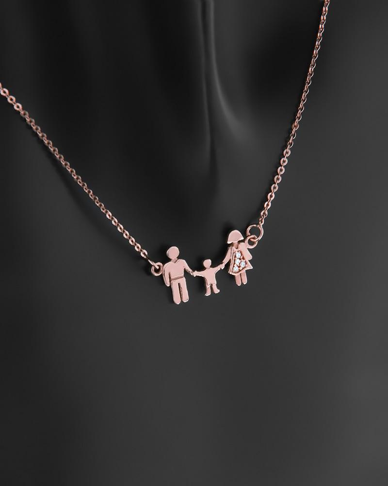 Κολιέ τριμελής οικογένεια ροζ χρυσό Κ14 με ζιργκόν   κοσμηματα κρεμαστά κολιέ κρεμαστά κολιέ ροζ χρυσό