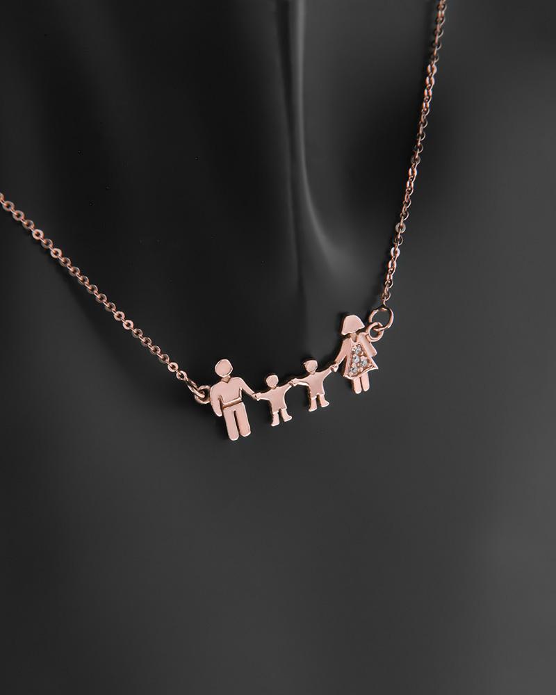 Κολιέ τετραμελής οικογένεια ροζ χρυσό Κ14 με ζιργκόν   κοσμηματα κρεμαστά κολιέ κρεμαστά κολιέ ροζ χρυσό