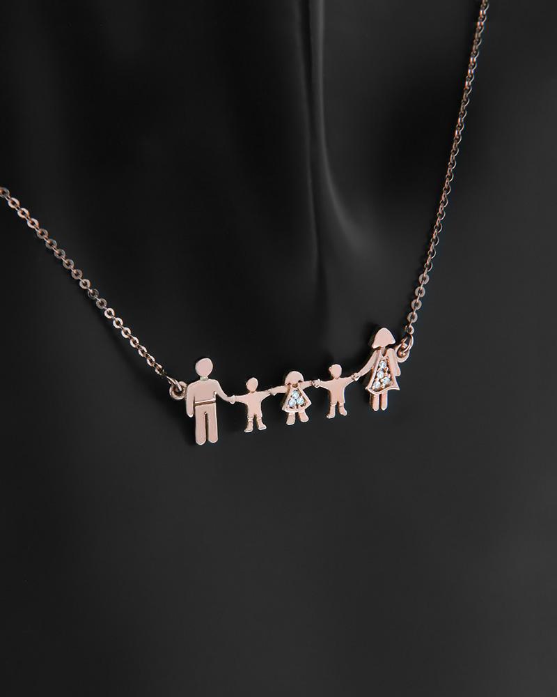 Κολιέ πενταμελής οικογένεια ροζ χρυσό Κ14 με ζιργκόν   κοσμηματα κρεμαστά κολιέ κρεμαστά κολιέ ροζ χρυσό