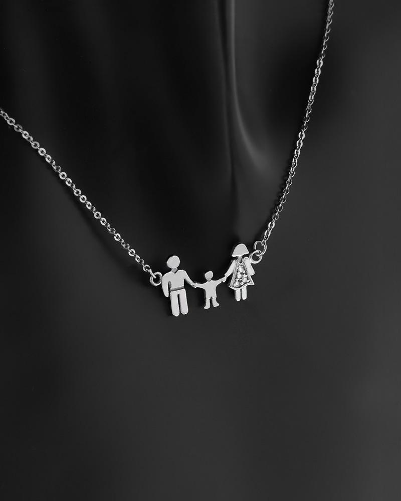 Κολιέ τριμελής οικογένεια λευκόχρυσο Κ14 με ζιργκόν   κοσμηματα κρεμαστά κολιέ κρεμαστά κολιέ λευκόχρυσα
