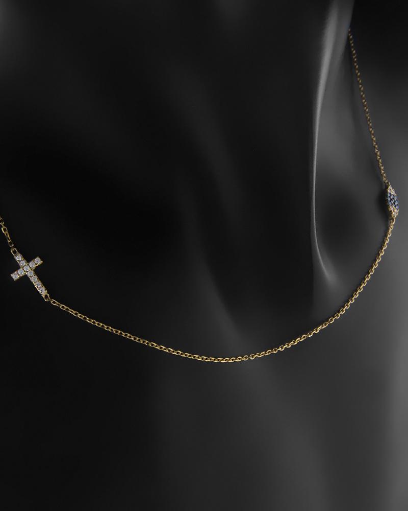 Κολιέ Κίτρινο Χρυσό Κ9 Μάτι κ Σταυρό Με Ζιργκόν   κοσμηματα κοσμήματα με ματάκι