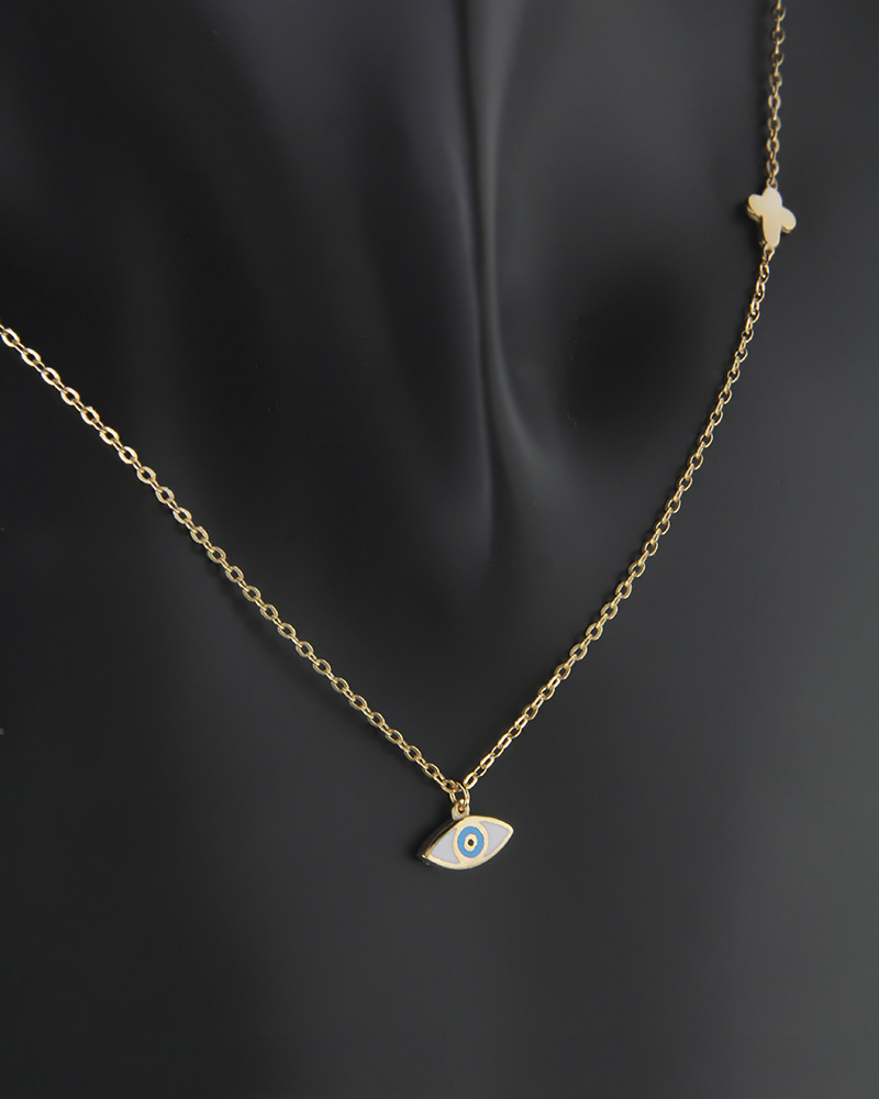 Κολιέ μάτι δύο όψεων χρυσό Κ9 με σμάλτο και ζιργκόν   κοσμηματα κρεμαστά κολιέ κρεμαστά κολιέ χρυσά