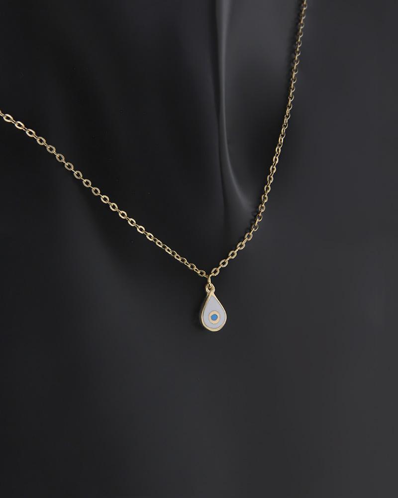 Κολιέ δάκρυ δύο όψεων χρυσό Κ9 με σμάλτο και ζιργκόν   κοσμηματα κρεμαστά κολιέ κρεμαστά κολιέ χρυσά