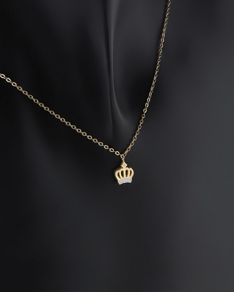 Κολιέ στέμμα δύο όψεων χρυσό Κ9 με σμάλτο και ζιργκόν   κοσμηματα κρεμαστά κολιέ κρεμαστά κολιέ χρυσά