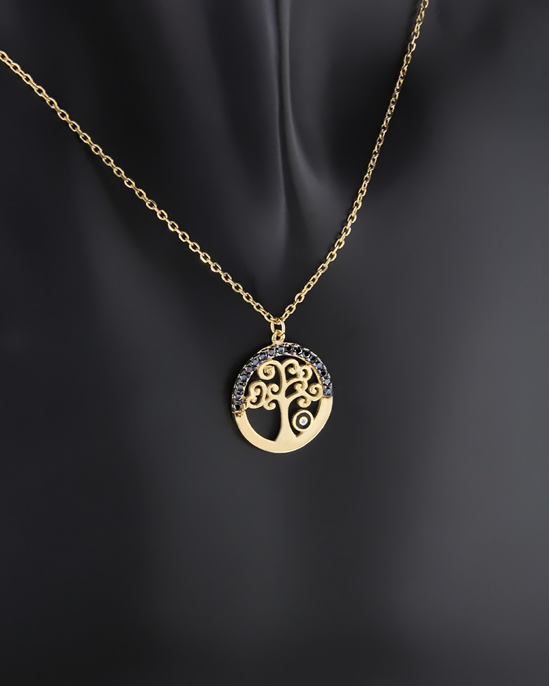 Κολιέ δέντρο της ζωής με μάτι χρυσό Κ9 με ζιργκόν και σμάλτο   κοσμηματα κρεμαστά κολιέ κρεμαστά κολιέ χρυσά