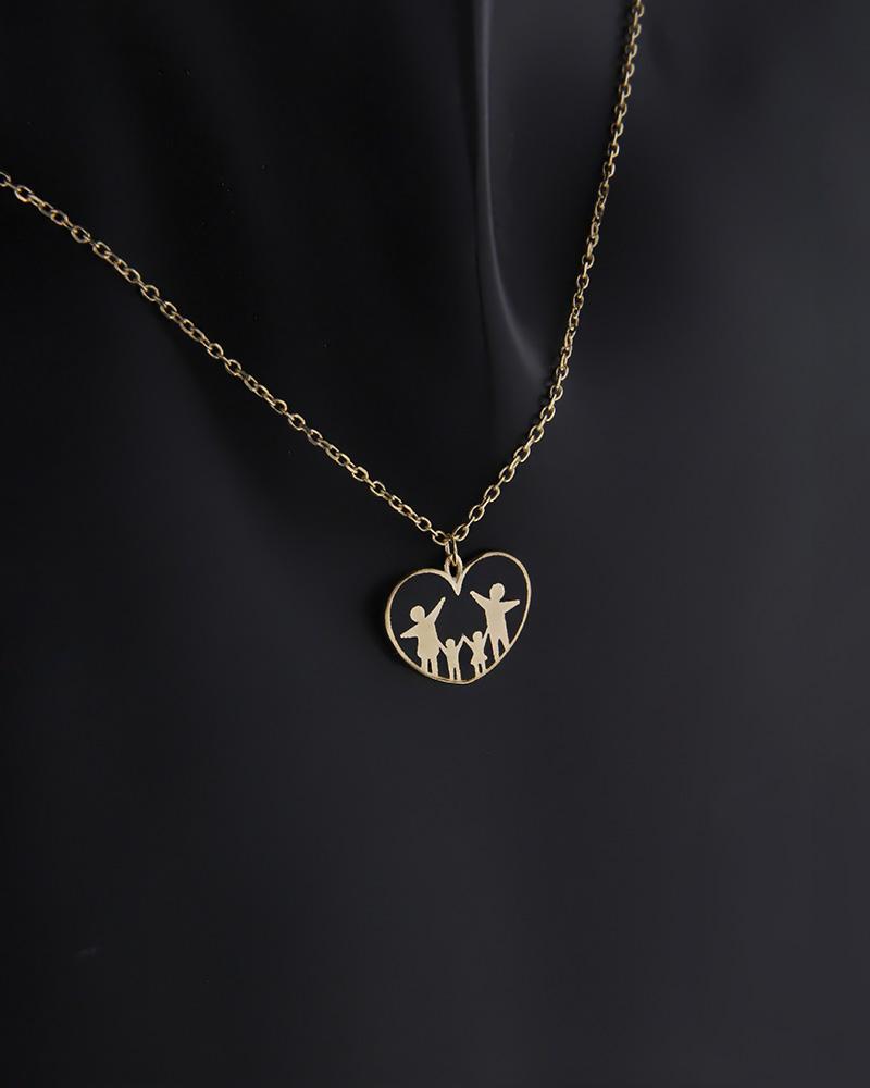 Κολιέ καρδιά με οικογένεια χρυσό Κ9   κοσμηματα κρεμαστά κολιέ κρεμαστά κολιέ χρυσά
