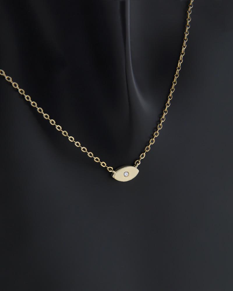 Κολιέ μάτι χρυσό Κ9 με ζιργκόν   κοσμηματα κρεμαστά κολιέ κρεμαστά κολιέ χρυσά