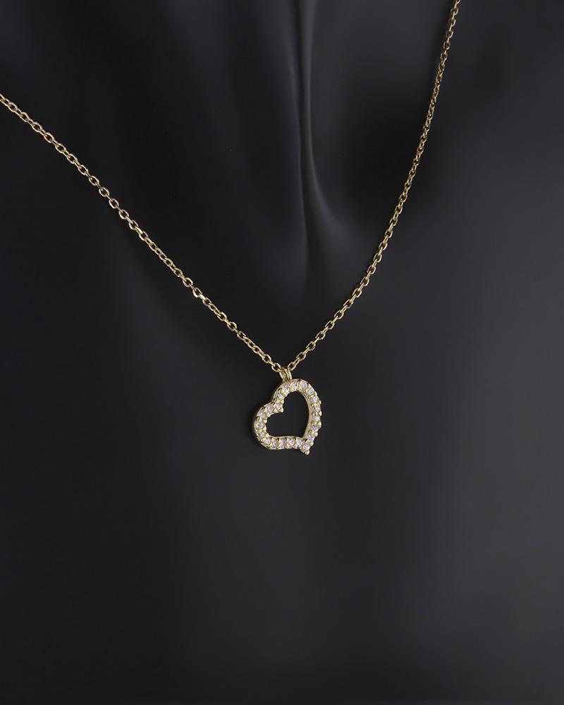 Κολιέ καρδιά χρυσό Κ9 με ζιργκόν