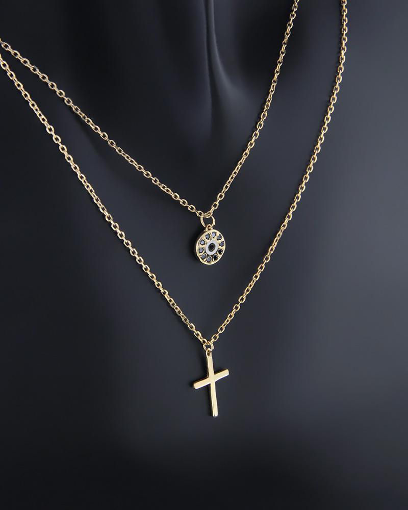 Κολιέ διπλό χρυσό Κ9 με ζιργκόν   κοσμηματα κρεμαστά κολιέ κρεμαστά κολιέ χρυσά