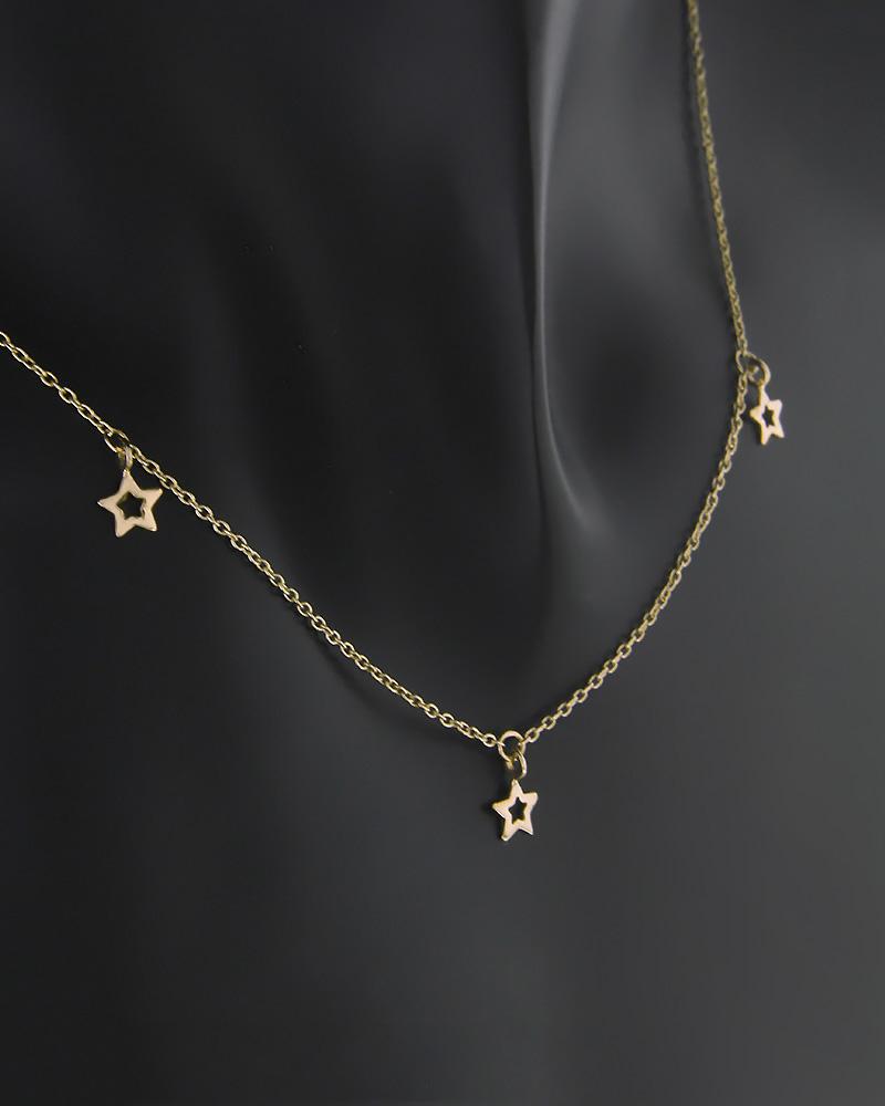 Κολιέ αστέρια ροζ χρυσό Κ9   κοσμηματα κρεμαστά κολιέ κρεμαστά κολιέ ροζ χρυσό