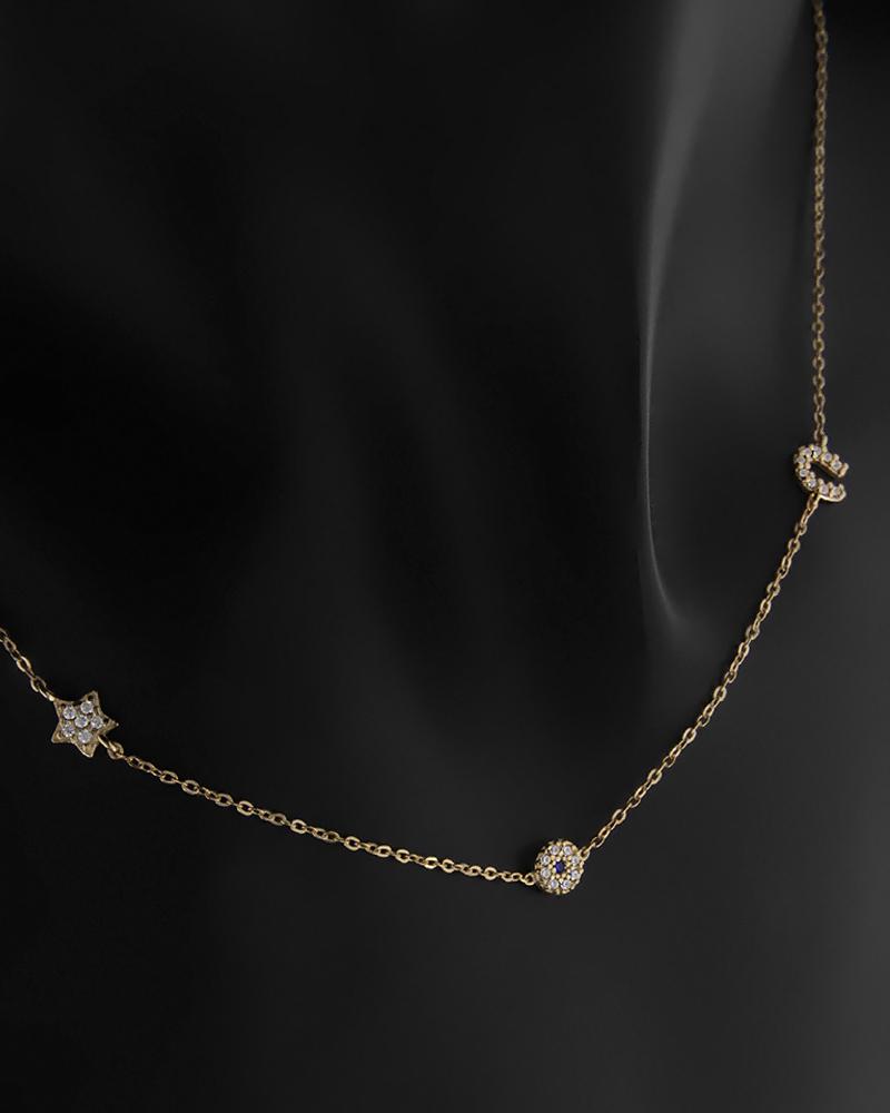 Κολιέ Κίτρινο Χρυσό Κ9 Με Μάτι-Αστέρι-Πέταλο   νεεσ αφιξεισ κοσμήματα παιδικά