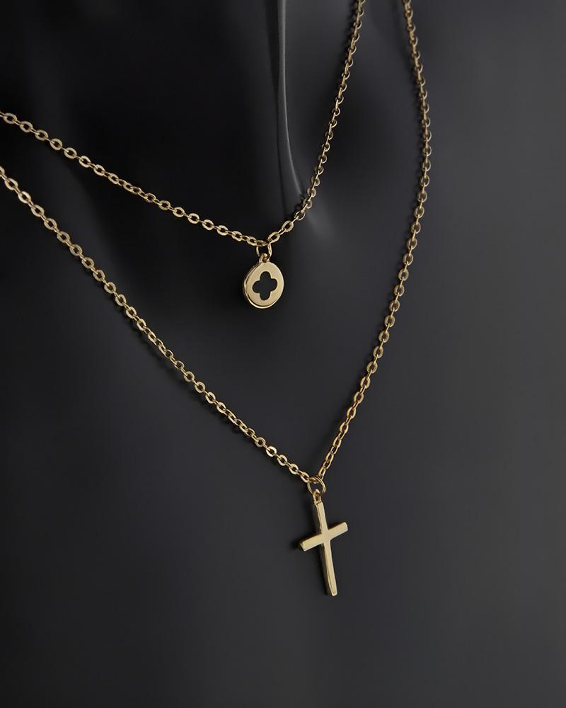 Κολιέ διπλό χρυσό Κ9 με σμάλτο   κοσμηματα κρεμαστά κολιέ κρεμαστά κολιέ χρυσά