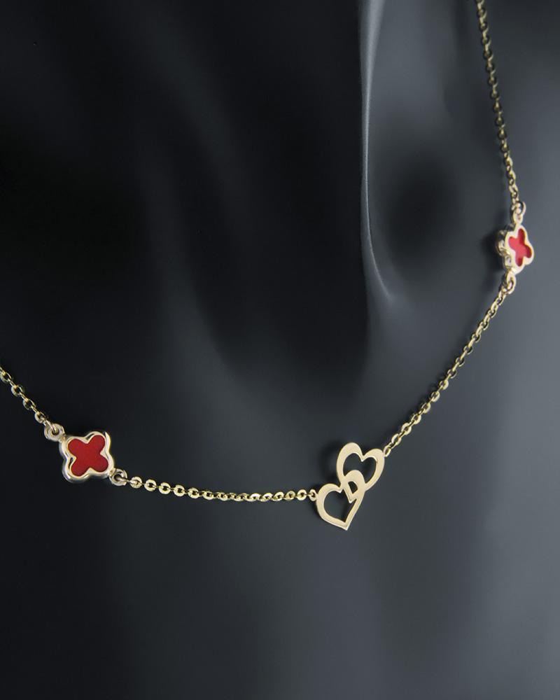 Κολιέ καρδιά και σταυροί χρυσοί Κ14   κοσμηματα κοσμήματα με καρδιές