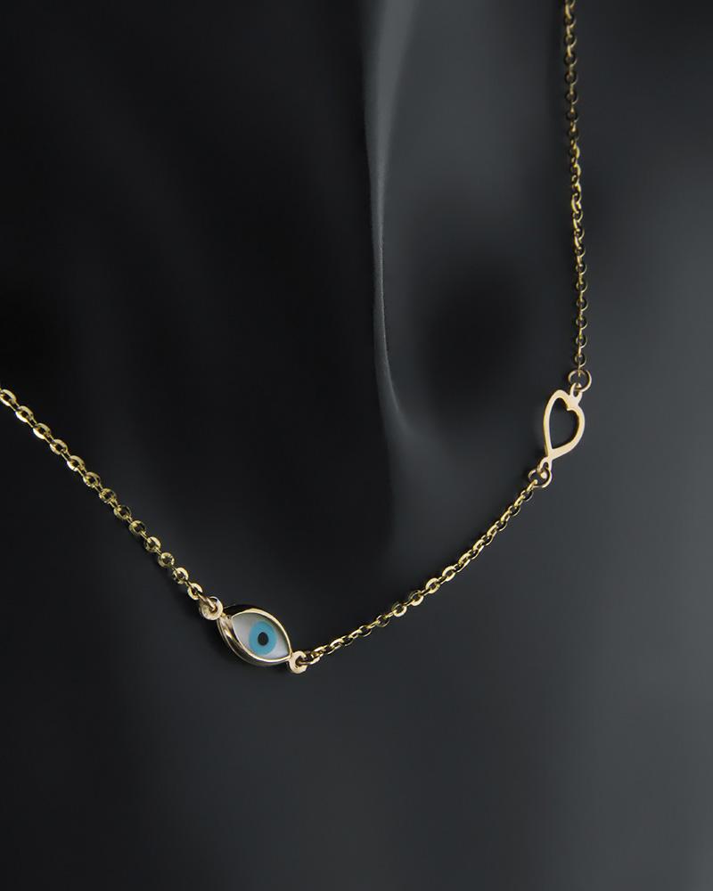 Κολιέ ματάκι και καρδιά από χρυσό   κοσμηματα κοσμήματα με καρδιές