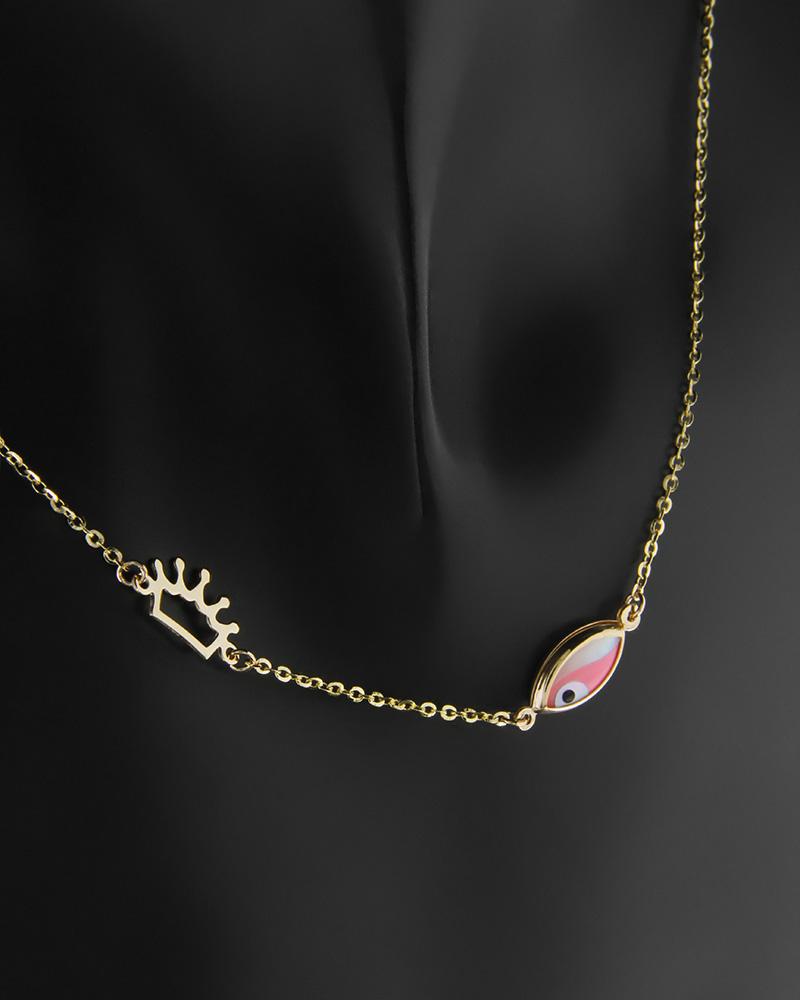 Κολιέ ματάκι και στέμμα χρυσό Κ14   κοσμηματα κοσμήματα με ματάκι