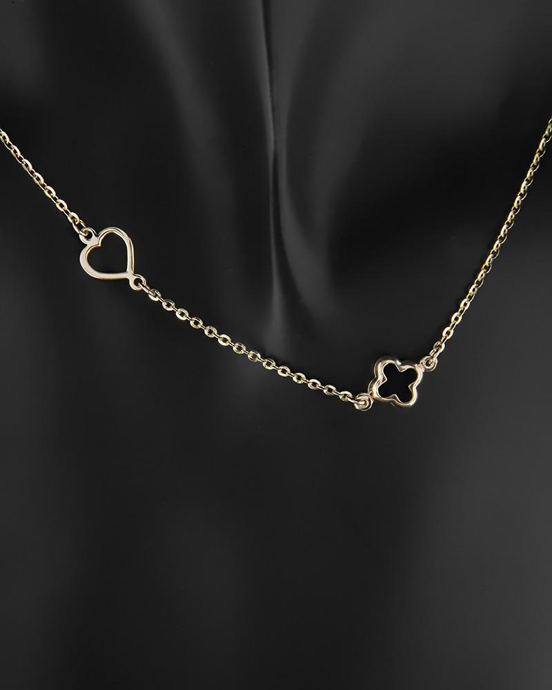 Κολιέ σταυρός και καρδιά χρυσό Κ14 με φίλντισι   κοσμηματα κοσμήματα με καρδιές