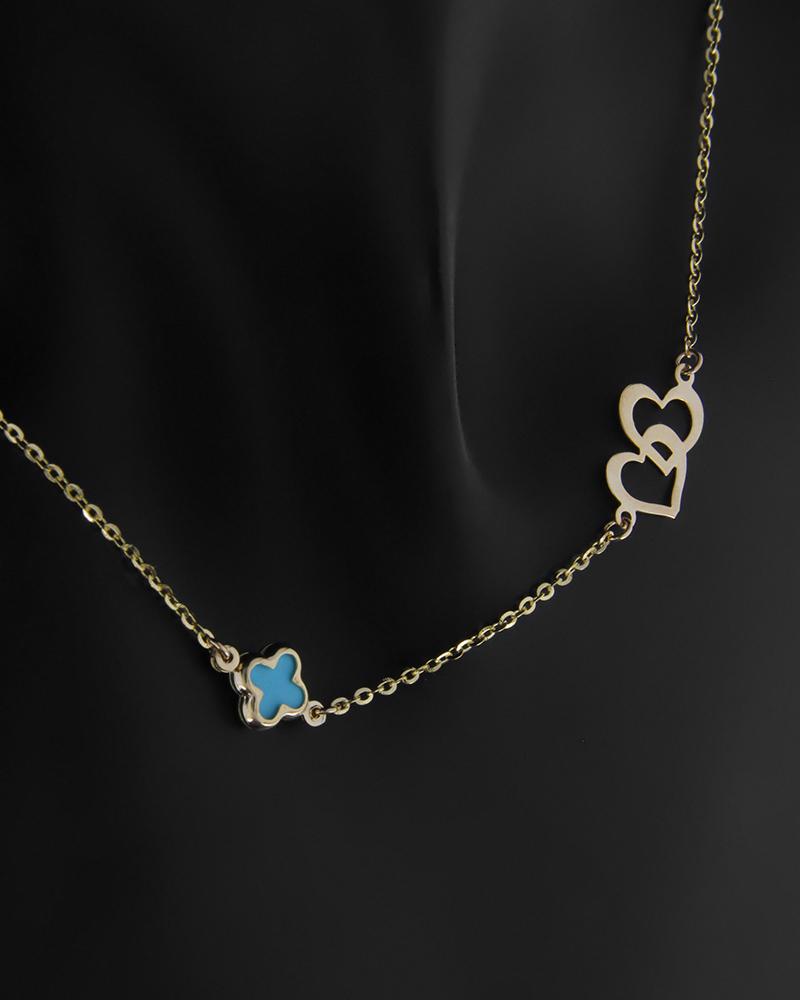 Κολιέ χρυσό Κ14 με σταυρό από σμάλτο και με καρδούλες   παιδι κρεμαστά κολιέ παιδικά