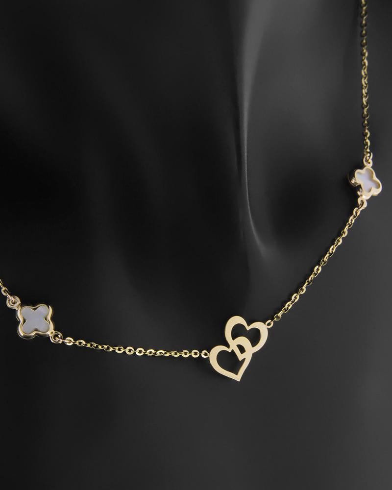 Κολιέ Σταυρουδάκια   καρδούλα χρυσό Κ14 με φίλντισι ... d534c1e2dc6