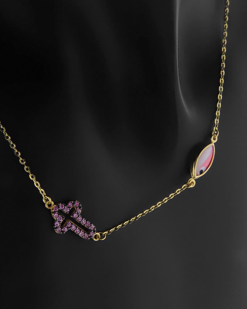 Κολιέ ροζ ματάκι & σταυρος χρυσός Κ14 με ροζ ζιργκόν   νεεσ αφιξεισ κοσμήματα παιδικά