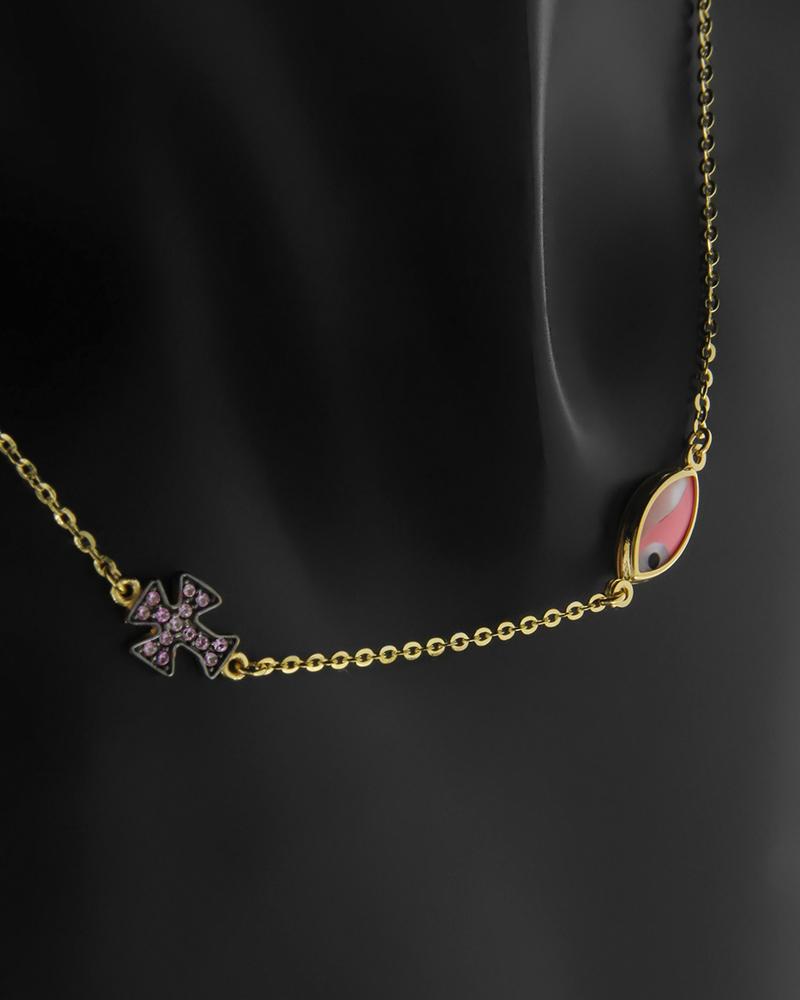 Κολιέ Κίτρινο Χρυσό Κ14 Με Ματάκι και Σταυρός N-FKF008   νεεσ αφιξεισ κοσμήματα παιδικά