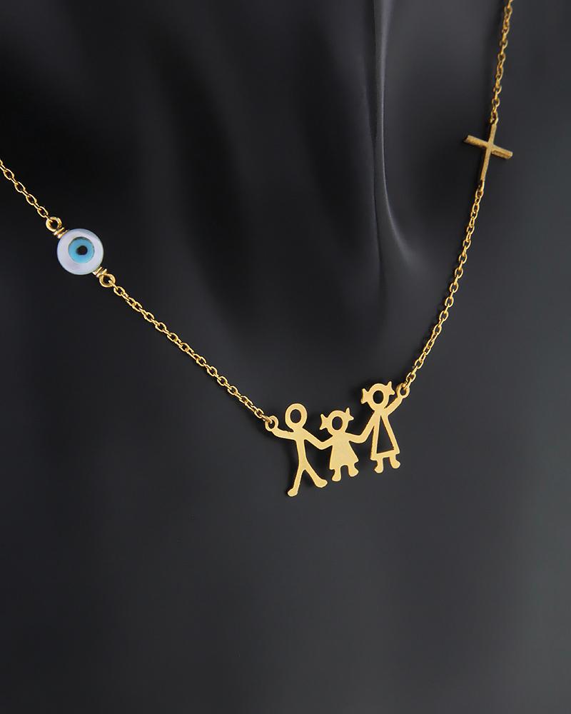 Κολιέ τριμελής οικογένεια χρυσό Κ14   νεεσ αφιξεισ κοσμήματα γυναικεία