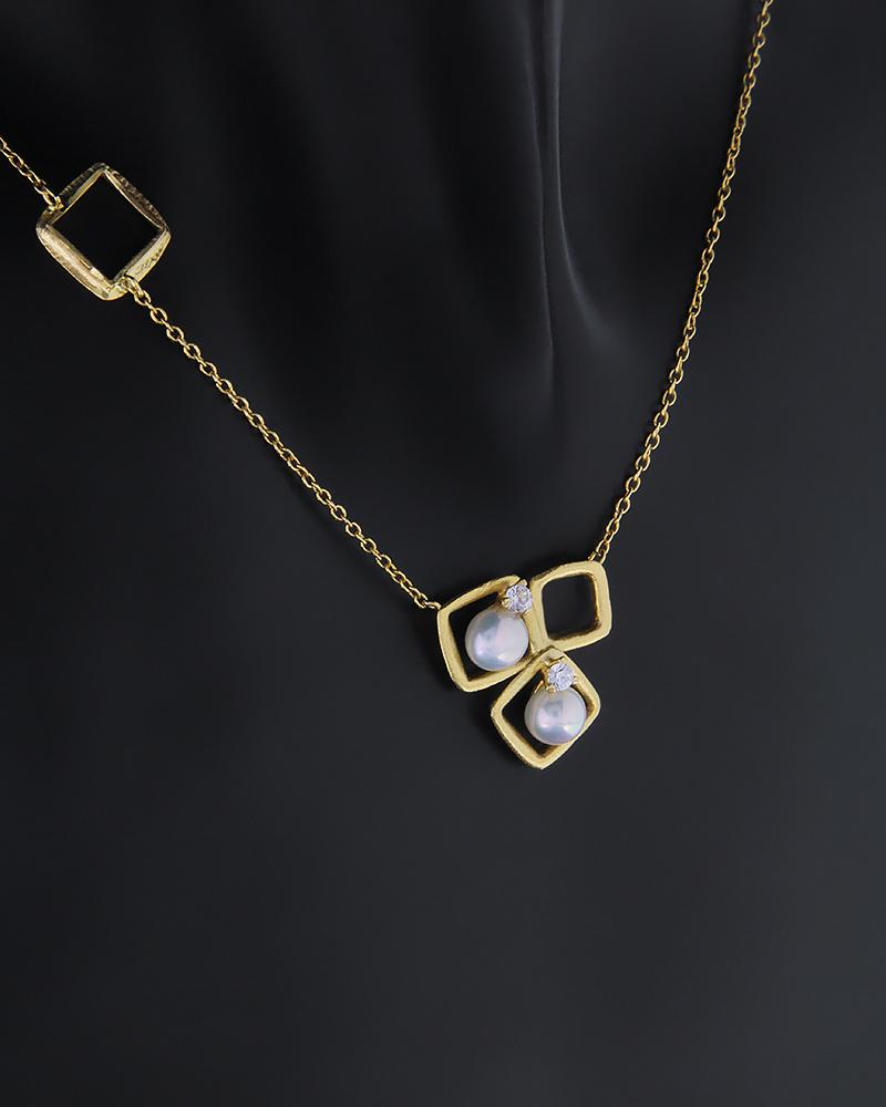 Κολιέ χρυσό Κ14 με μαργαριτάρια και ζιργκόν   νεεσ αφιξεισ κοσμήματα γυναικεία
