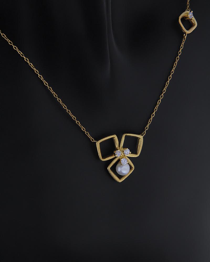 Κολιέ χρυσό Κ14 με ζιργκόν και μαργαριτάρι   νεεσ αφιξεισ κοσμήματα γυναικεία