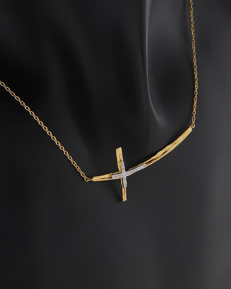 Κολιέ σταυρός χρυσό & λευκόχρυσο Κ14 με ζιργκόν   νεεσ αφιξεισ κοσμήματα γυναικεία