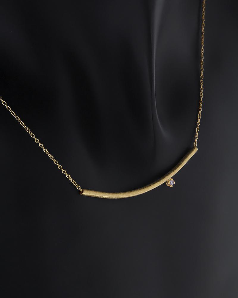Κολιέ καμπύλη χρυσό Κ14 με ζιργκόν   νεεσ αφιξεισ κοσμήματα γυναικεία