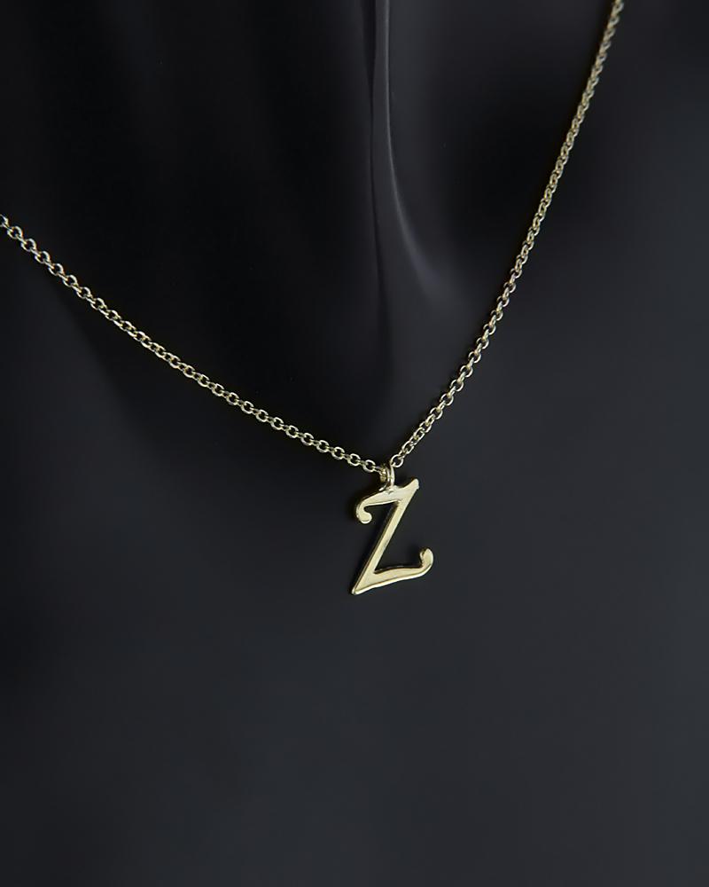 """Κολιέ μονόγραμμα """"Ζ"""" χρυσό Κ9   γυναικα κρεμαστά κολιέ κρεμαστά κολιέ μονόγραμμα"""