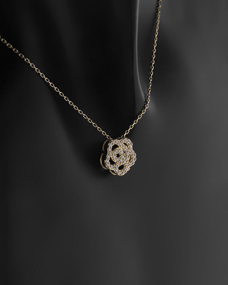 Κολιέ λουλούδι χρυσό Κ14 με ζιργκόν   κοσμηματα κρεμαστά κολιέ κρεμαστά κολιέ χρυσά
